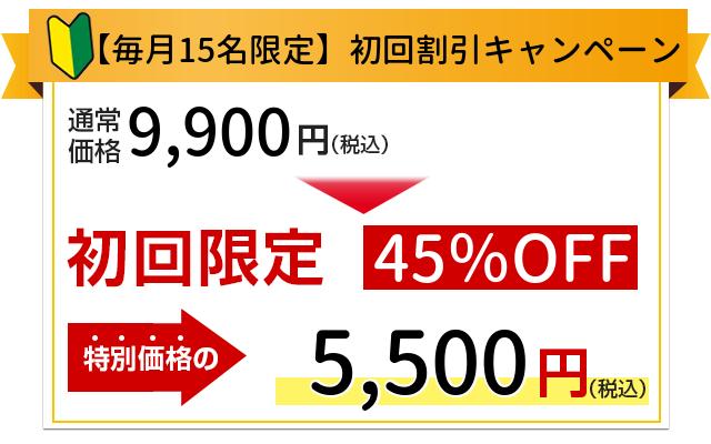 【HP限定割引】初回限定9,900円が5,500円になります